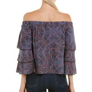 Ella Moss Tops - Ella Moss Navy Print Tiered Top